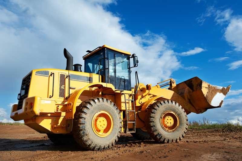 Bulldozer in construction site.